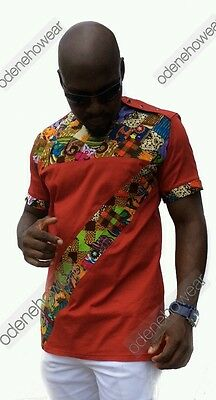 Odeneho Wear Men's  Polished Cotton/Ankara Patch Design. African Clothing