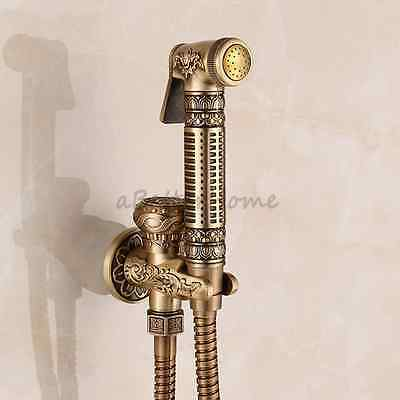 Solid Brass Antique Hand Held Bidet Sprayer Faucet Toilet Cleaning Shower Kit