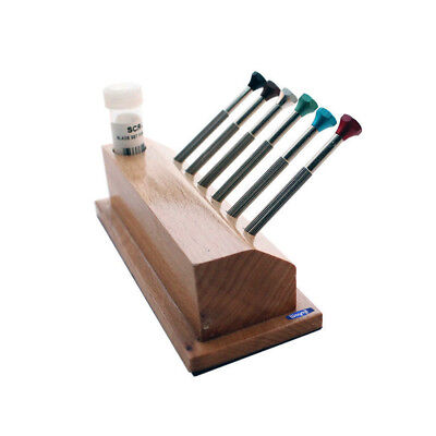 Screwdriver W/ Reversible Blade In Wooden Stand 6 Pc Set, Sizes #4-9