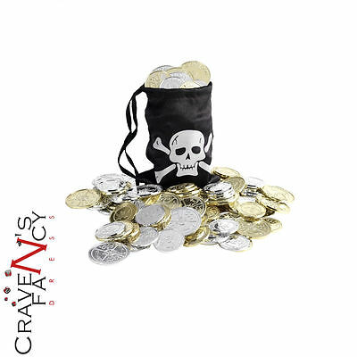 Pirate Coins and Treasure Bag Kids Fancy Dress Costume Accessory New