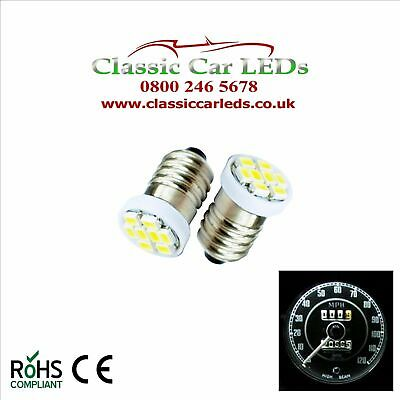 2x 6v 6 VOLT WHITE E10MES CLASSIC CAR MOTORCYCLE SCOOTER LED BULB GLB990 SHORT