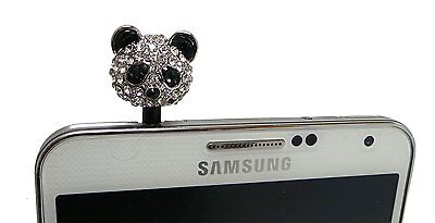 Lovely Panda Crystal Rhinestone 3.5mm Dust Plug For Samsung Galaxy S6 Edge Plus