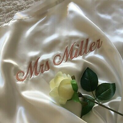 Satin Robes Bride Bridesmaid Wedding Bridal Party LONG ~ Personalised Embroidery