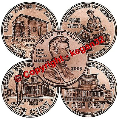 Complete Set Lincoln Bicentennial 2009 Cent Penny from Mint Rolls 8 Coins Uncir.