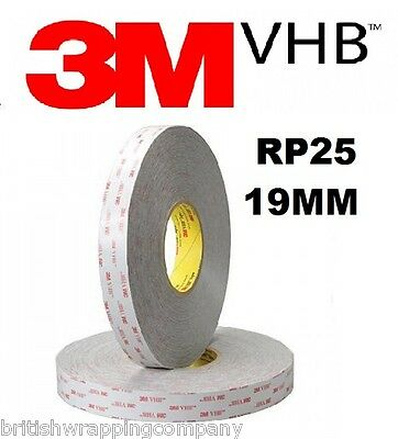 3M VHB RP25 19mm Wide Double Sided Adhesive Foam Bonding Tape Outdoor 3 Metres