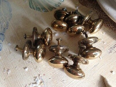 "Vintage 8 Solid Brass Traditional Drawer Pulls 1 1/4"" diameter Gold"