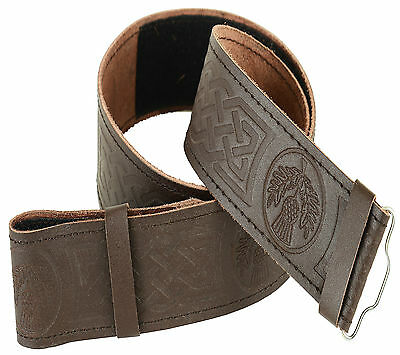 Brown Celtic Embossed Leather Kilt Belt Adjustable size for Kilts Highland Dress