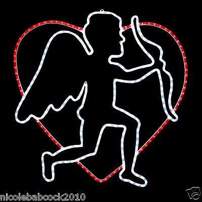 """Large 32"""" Valentine's Day Led Lighted Heart W/ Cupid Bow & Arrow Weighs - 12 Lbs"""