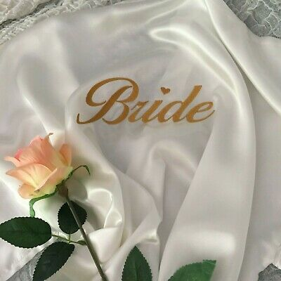 Bridal Robes ~ Personalised embroidery ~ SHORT ~ Bride Bridesmaid Wedding Party