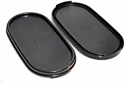 2 New Tupperware Modular Mates Black Oval Seal Lid Cover Set