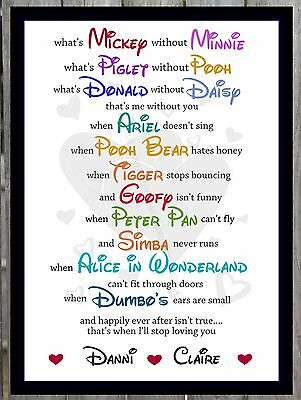 Valentines Day Gift Personalised Him Her Wife Disney Anniversary Present Print❤️