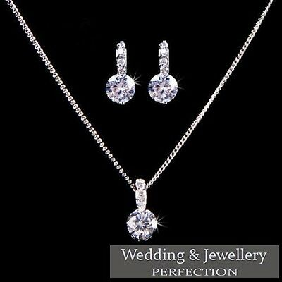 Bridesmaid Jewelry Set, Wedding Jewellery, Crystal Rhinestones Necklace Earrings