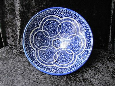 Large old Moroccan bowl - lovely blue and white fruit bowl centerpiece etc.