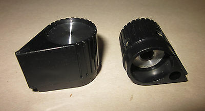 "NOS Raytheon/EHC Contemporary Pointer Knob w/ Skirt, Black w/ Inlay, 1/4"" Shaft"