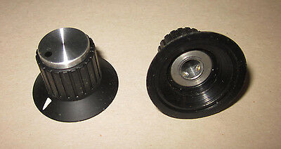 "NOS Raytheon/EHC Contemporary Dial Knob w/ Arrow Indicator & Dot Cap, 1/4"" Shaft"
