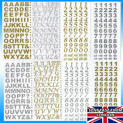LETTERS NUMBERS STICKERS Silver Rose Gold self Adhesive Glitter Alphabet Craft