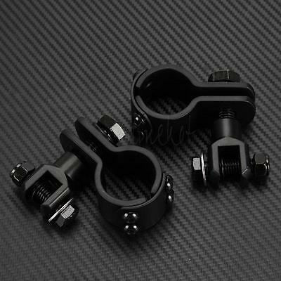 "2x Black Highway Foot Peg Pad Clamps Mounts for Motorcycle Crash Bar 1-1/4"" 32mm"
