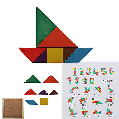 7 Piece Magic Wooden Puzzle Tangram Brain Teaser Kid Educational Game Toy Gift