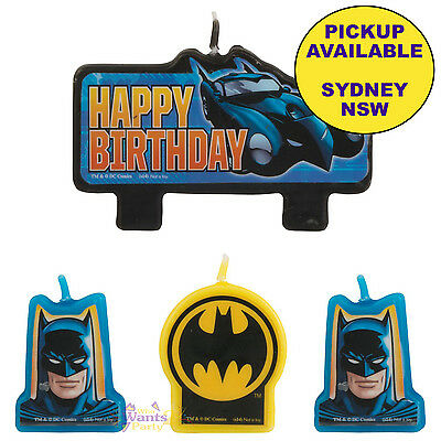 Batman Birthday Party Supplies 4 Set Cake Molded Candle Set Toppers Decorations