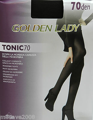2 Pares medias panty, collant, tights 70d GOLDEN LADY TONIC 70  1 negro-1 marrón