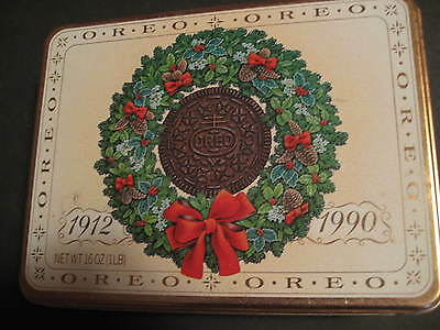 "1990 Vintage Original OREO Wreath Tin 8X6X2.5"" Nabisco Brown Lining"