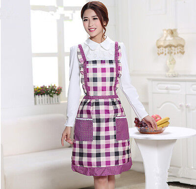 UK Pretty Apron Flower Checked Vintage  Pinny Cooking Adult  Women  Dress Pocket