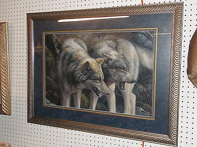 "Laura Mark Finberg Signed Lithograph ""OPUS"" Wolves Wolf Framed Art"