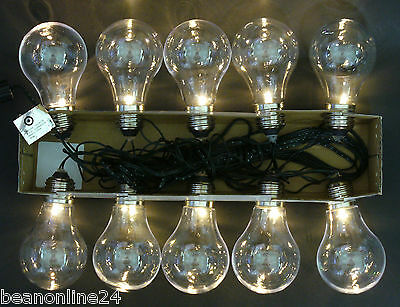 10 Piece Large LED Clear Festoon / Party Globe String Light Kit
