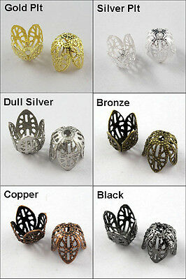 40 New Connectors Filigree Bead End Caps Cone 11mm Gold Silver Bronze Plated