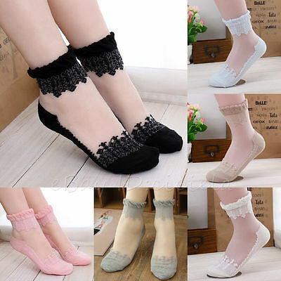Fashion Women Lace Antiskid Invisible Liner No Show Peds Elastic Low Cut Socks