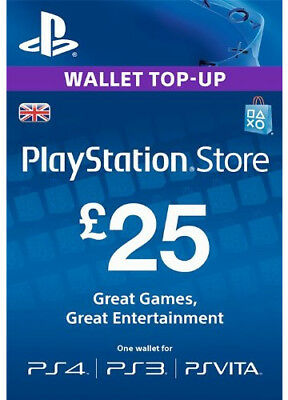 UK £25 PLAYSTATION NETWORK Prepaid Card Key GBP PSN PS3 PS4 PSP