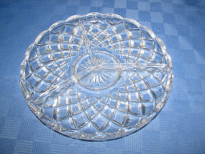 Vintage Diamond Cut Divided Glass Serving Plate.