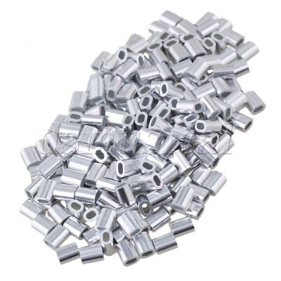 200PCS Oval Aluminum Clip Ferrule Sleeves For 1mm Wire Rope