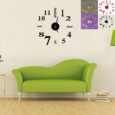 Mini 3D Effect DIY Wall Clock Home Office Sticker Decoration Design Fit For Gift