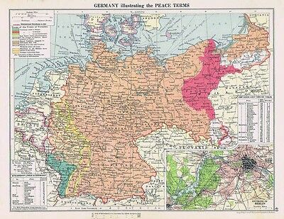 GERMANY Illustrating WW1 Peace Terms Vintage Map 1926 by Philip & Son
