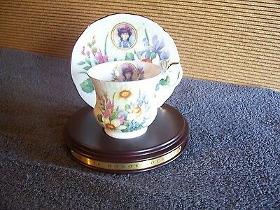 Avon 1996 Mrs. P.F.E. Albee Honor Society Teacup and Saucer with Wooden Stand
