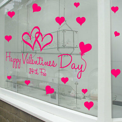 Happy Valentine's Day Hearts Retail Shop Window Display Wall Stickers Decal A316