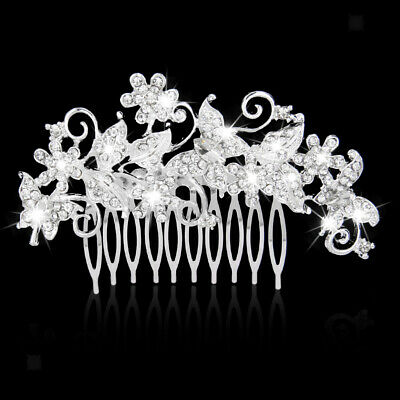 Bridal Wedding Butterfly Hair Pieces Crystal Rhinestone Hair Comb Clip