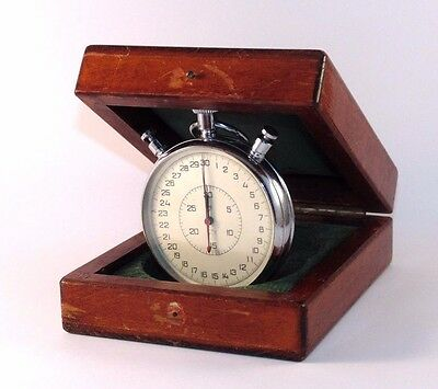 Stopwatch Chronometer SLAVA  in original WOODEN box USSR Vintage 20 jewels