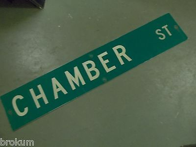"Large Original Chamber St Street Sign 48"" X 9"" White Lettering On Green"