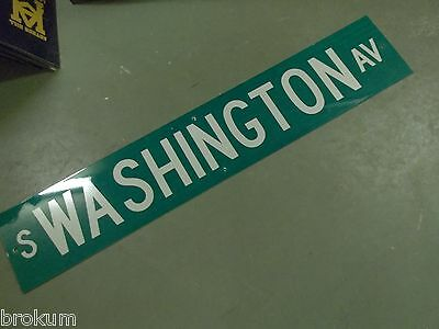 "Large Original S. Washington Av Street Sign 48"" X 9"" White Lettering On Green"