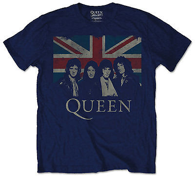 Official Queen Mens Music T-Shirt Navy With Union Jack Vintage Style Rock Pop