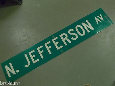 "Large Original N Jefferson Av Street Sign 48"" X 9"" White Lettering On Green"