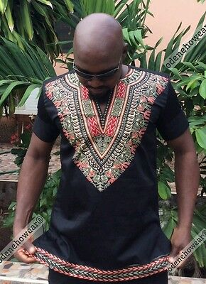 Odeneho Wear Men's Black Polished Cotton Top With Dashiki. African Clothing