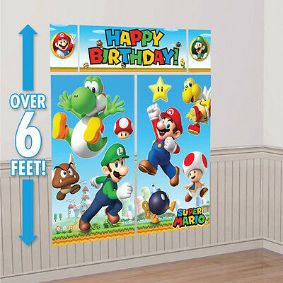 Super Mario BrothersWall Decoration Kit, Scene Setter Birthday Party Supplies