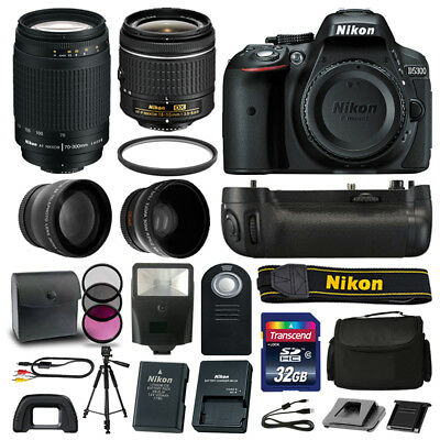 Nikon D5300 DLSR Camera 4 Lens Kit: 18-55mm VR +70-300 +Battery Grip Great Value