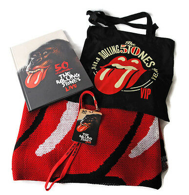 Rolling Stones 50 & Counting tour program, blanket, tote and VIP lanyard Blundle