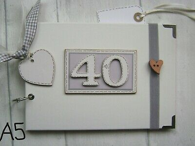 PERSONALISED 40TH birthday .A5  SIZE. PHOTO ALBUM/SCRAPBOOK/MEMORY BOOK.
