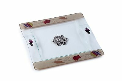 Red Pomegranate Matza plate for Passover Seder Judaica Large Glass Hand Made Art