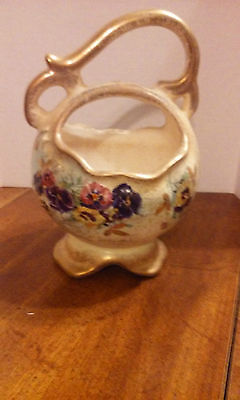 Vintage Weller Pottery Basket With Pansy